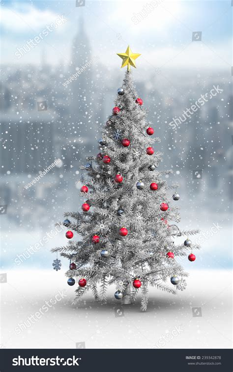 composite image christmas tree falling snow stock