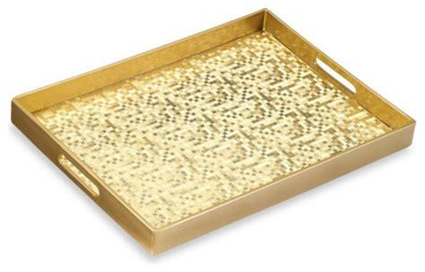 Bazaar Home Decorating Mosaic Gold Rectangular Serving Tray Contemporary