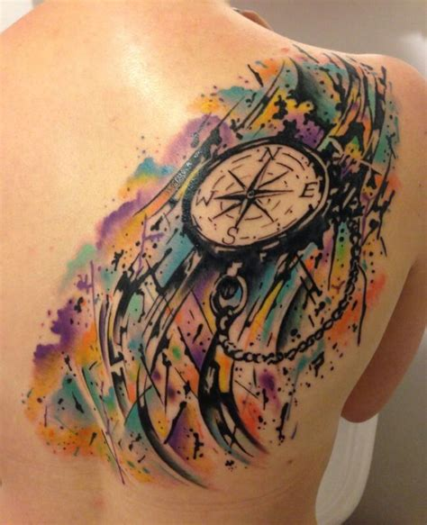 watercolor tattoo compass watercolour compass tats i