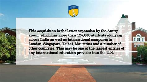 Amity New York Mba by Amity Acquires A 170 Acre Cus In New York