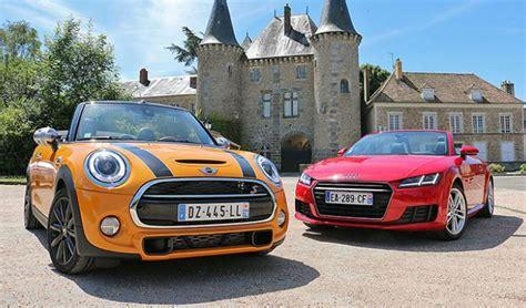 Audi Tt Vs Mini Cooper by Essai Comparatif Audi Tt Roadster Vs Mini Cooper S Cabrio