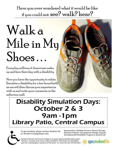 walk a mile in my shoes cpcc today
