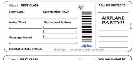 Free Printable Airline Ticket Airline Ticket Invitation Airline Ticket Invitation Template