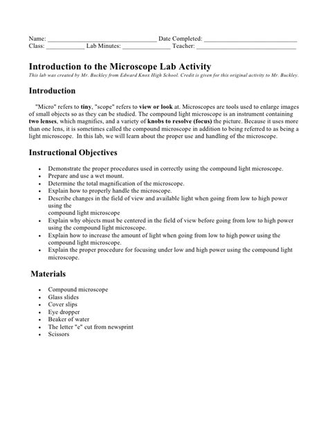 Microscope Lab Report Letter E Getting To The Microscope Lab