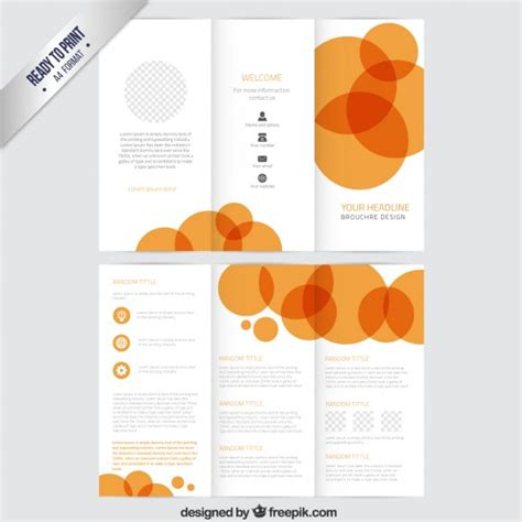 brochure template with orange circles vector free download