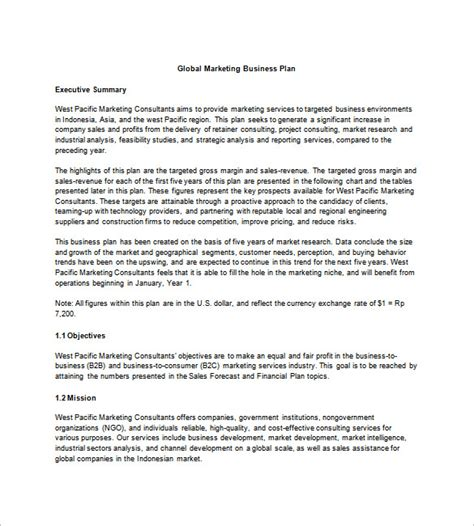 business and marketing plan template marketing business plan template 20 free sle