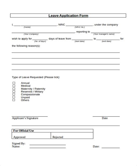 7 sle leave application forms sle exle format