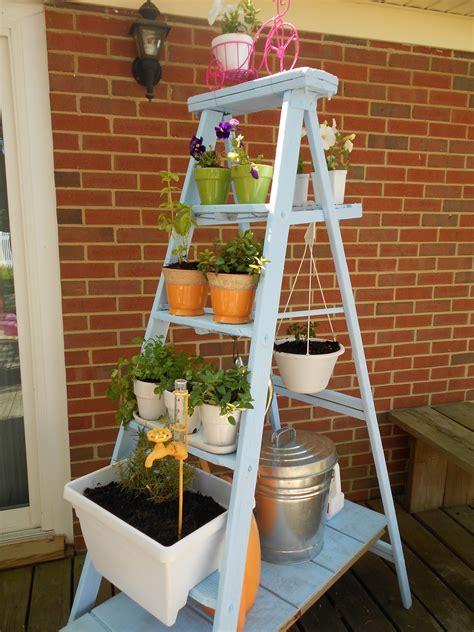 Diy Garden Shelf by Ladder Garden