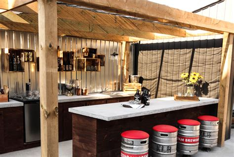 backyard sports bar couple living with in laws build backyard sports bar to