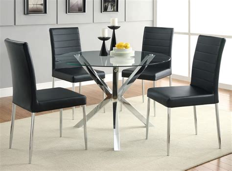 round glass dining room sets dreamfurniture com 120760 5 piece round glass top dining