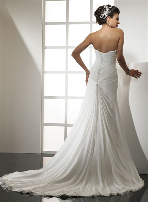 strapless sweetheart a line chiffon wedding dress