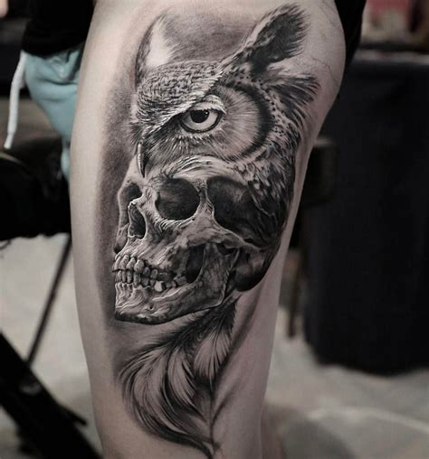 animals tattoo with owl and skull