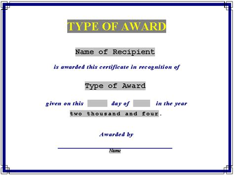 templates for award certificates in word editable award certificate of achievement template paper