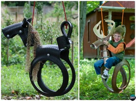 how to make a tire horse swing diy outdoor kid swing ideas projects picture instructions