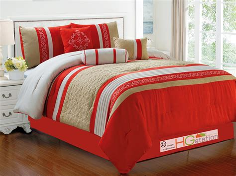 red and orange comforter sets 7pc quilted damask medallion faux suede comforter set red