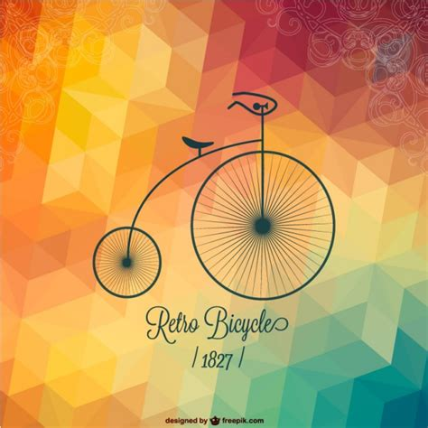 fotos retro retro bicycle with polygonal background vector free