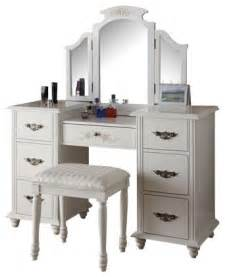 Bedroom Makeup Vanities Torian 3 Piece White Finish Wood Make Up Dressing Table