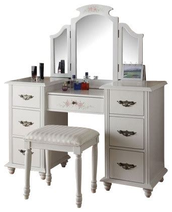 Make Up Tables Vanities by Torian 3 White Finish Wood Make Up Dressing Table