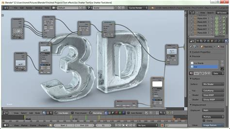 Blender Tutorial Ice | blender tutorial ice crack and shatter text effect youtube