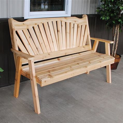 red patio bench a l furniture western red cedar fanback garden bench