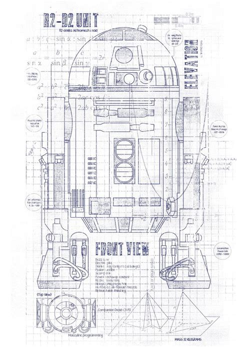 Engineering Drawing Template r2d2 blueprints t shirt crawlspace studios project r2