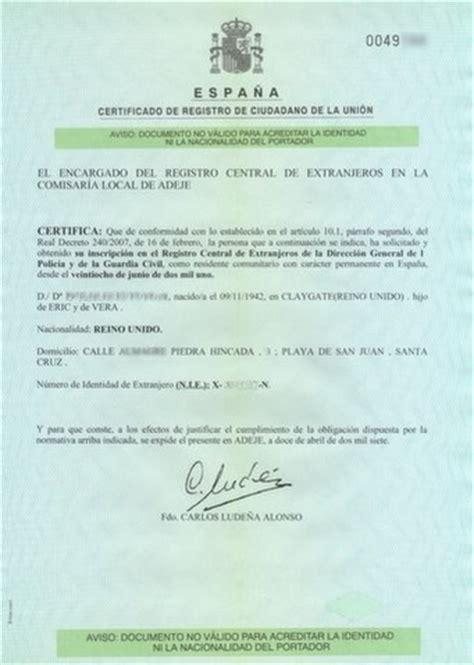 certificado de registro de ciudadano de la ue