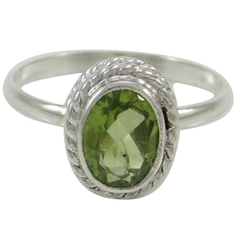 peridot 925 sterling silver ring band us size 7 faceted