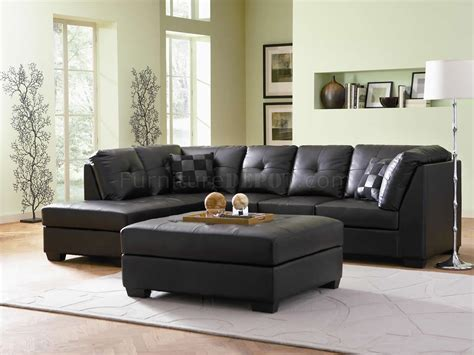 Darie Leather Sectional Sofa Darie Sectional Sofa 500606 Black Bonded Leather Match Coaster