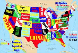 the world map of the united states this map shows the united states if each state were named
