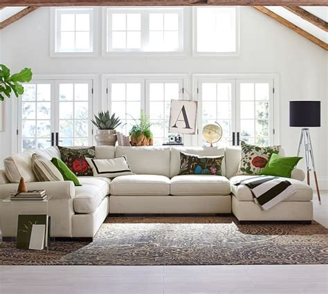 pottery barn sectional townsend upholstered 4 piece sectional with chaise