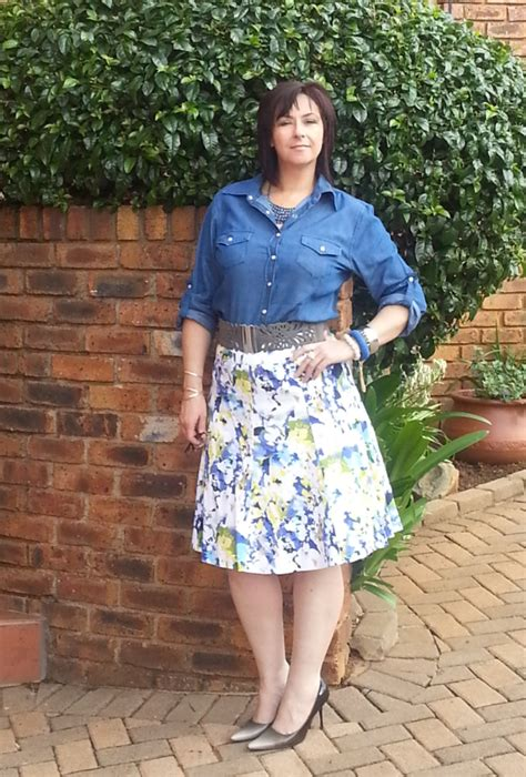 simply sassy style denim shirt and floral skirt