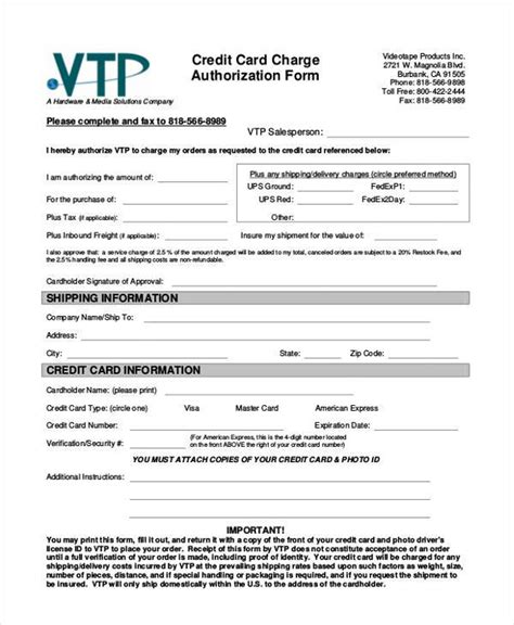 Credit Card On File Agreement Template Authorization Form Templates