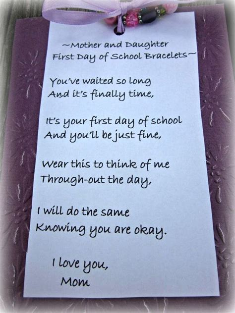 mother  daughter  day  school  richelledesigns  etsy poem  matching bracelets