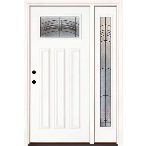 Prehung Exterior Doors Home Depot Feather River Doors 50 5 In X 81 625 In Rochester Patina Craftsman Lite Unfinished Smooth