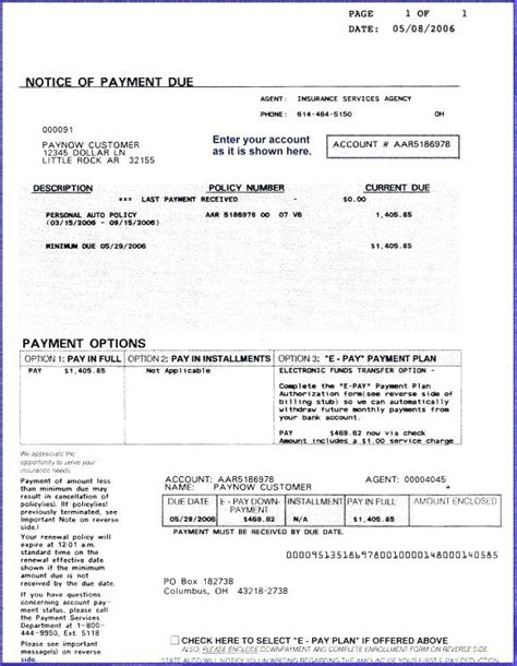 car insurance receipt template insurance invoice sle insurance bill format kkey me