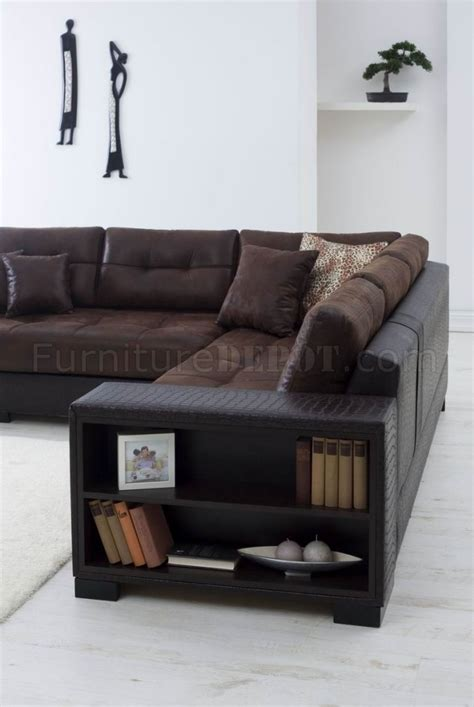 brown fabric vinyl modern sectional sofa