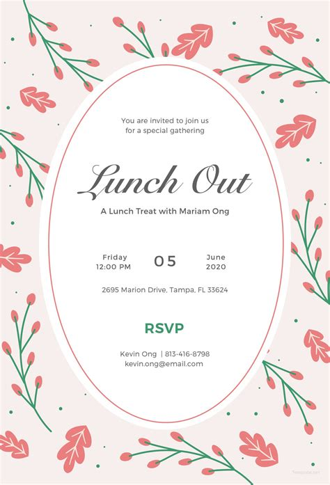 Lunch Card Template by Free Lunch Invitation Template In Illustrator Template Net