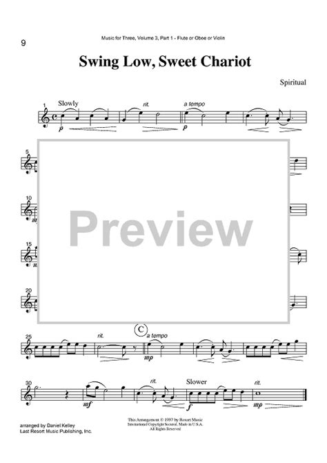 swing low sweet chariot piano swing low sweet chariot part 1 flute oboe or violin