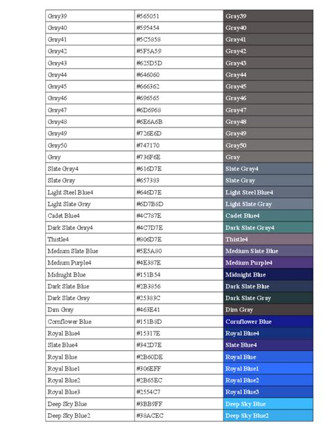 standard html color code chart