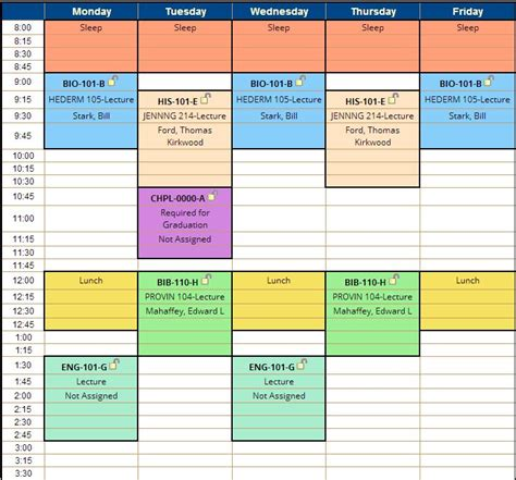 College Schedule Planner Template Business College Schedule Template