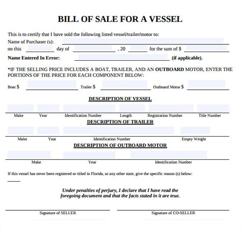 Free Bill Of Sale Template Sle For Buying Or Selling Vessel Or Motor Boat Vatansun Bill Of Sale Template Florida