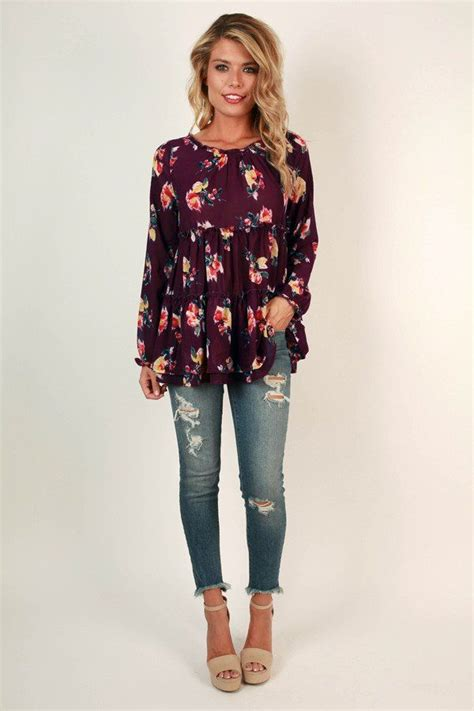 Flowers Casual Top 27161 charleston floral top in royal plum royals floral and