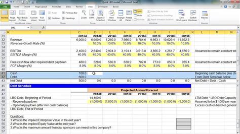simple lbo model template financial modeling lesson simple lbo model 2 of 3