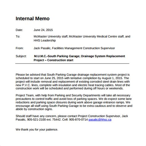 sle internal memo template 12 free documents