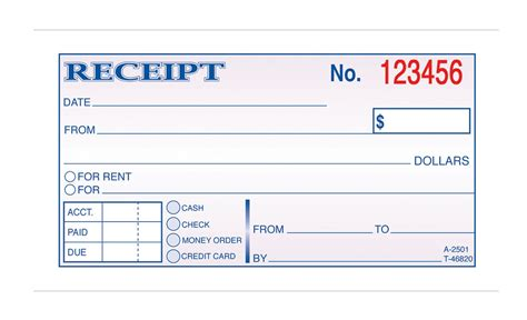 money rent receipt carbonless