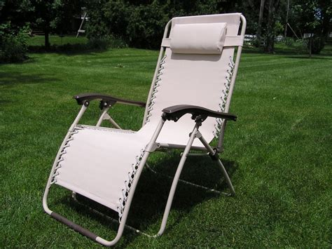 Zero Gravity Patio Chair Delux Wide Zero Gravity Lawn Chair Beige Patio Recliner Ebay