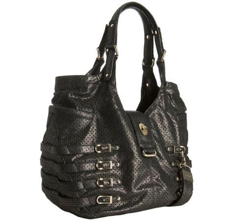 Jimmy Choo Rikki Perforated Handbag by Jimmy Choo Gunmetal Perforated Metallic Leather Large
