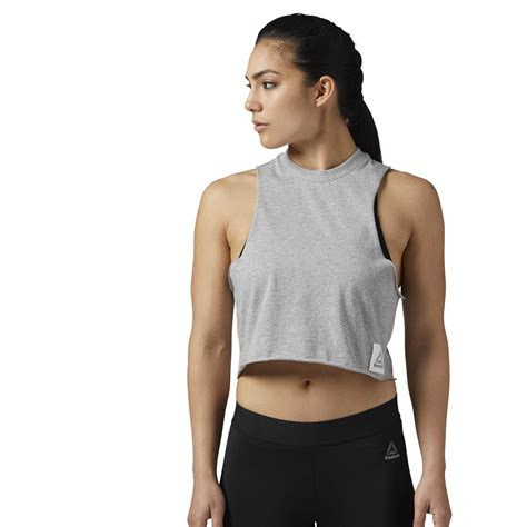 Tank Tops reebok workout ready crop tank top grey reebok mlt