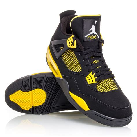 black basketball shoes air 4 retro mens basketball shoes black yellow