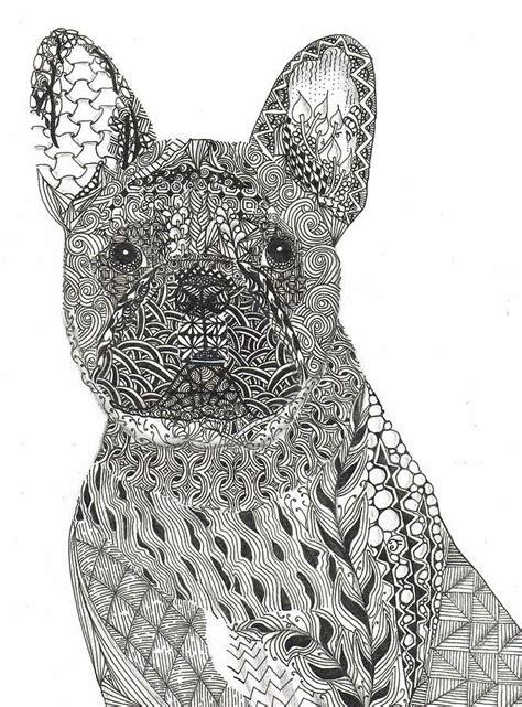 pattern drawing using c zentangle inspired french bull dog dianne ferrer jpg 665